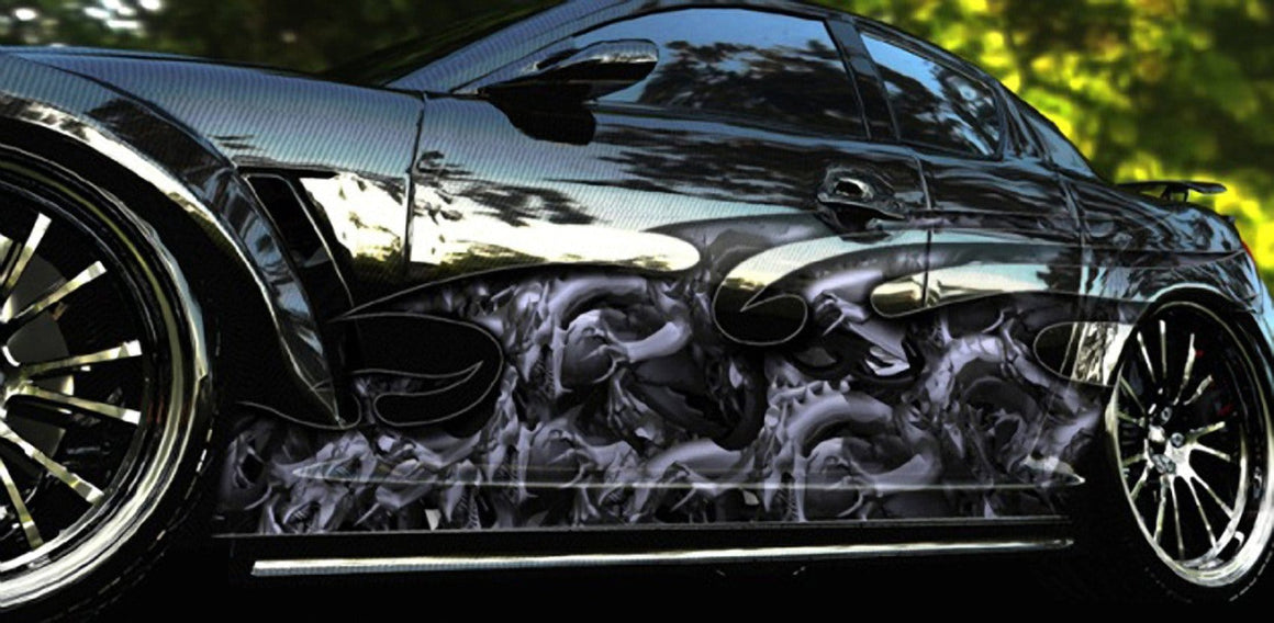 Dragon attack vinyl wrap on side of sports car