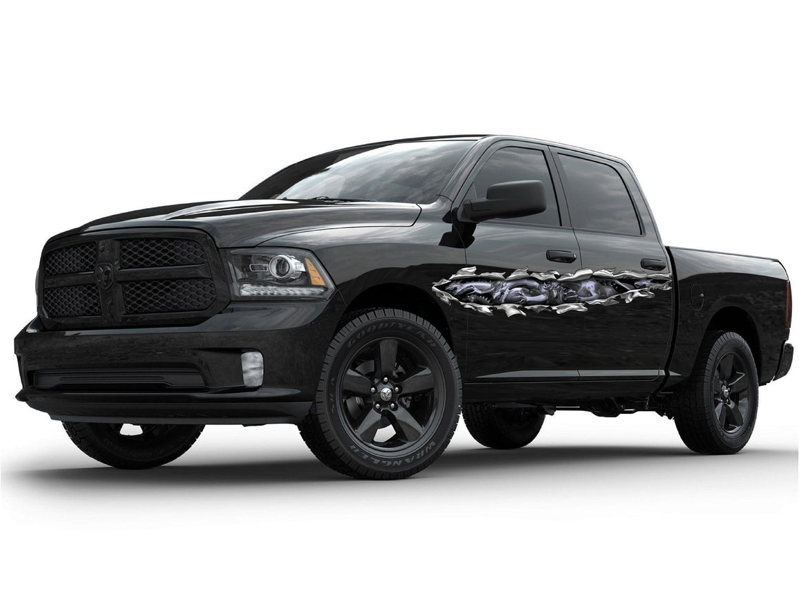 Dragon tear vinyl graphics on dodge ram truck
