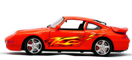 fire flame vinyl graphics on porche