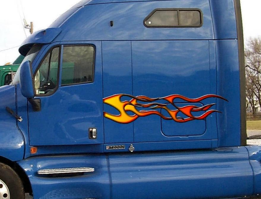 flames vinyl graphics on big semi truck