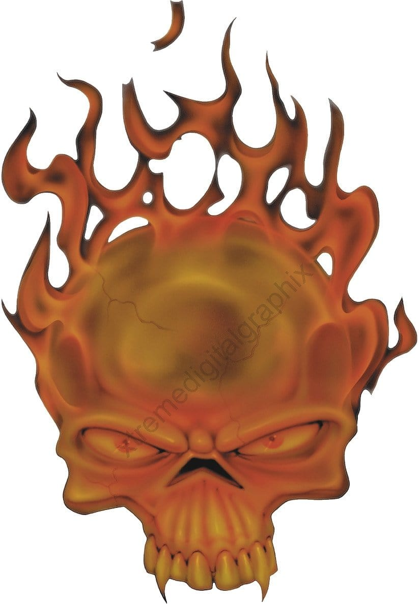 flaming skull vehicle decal