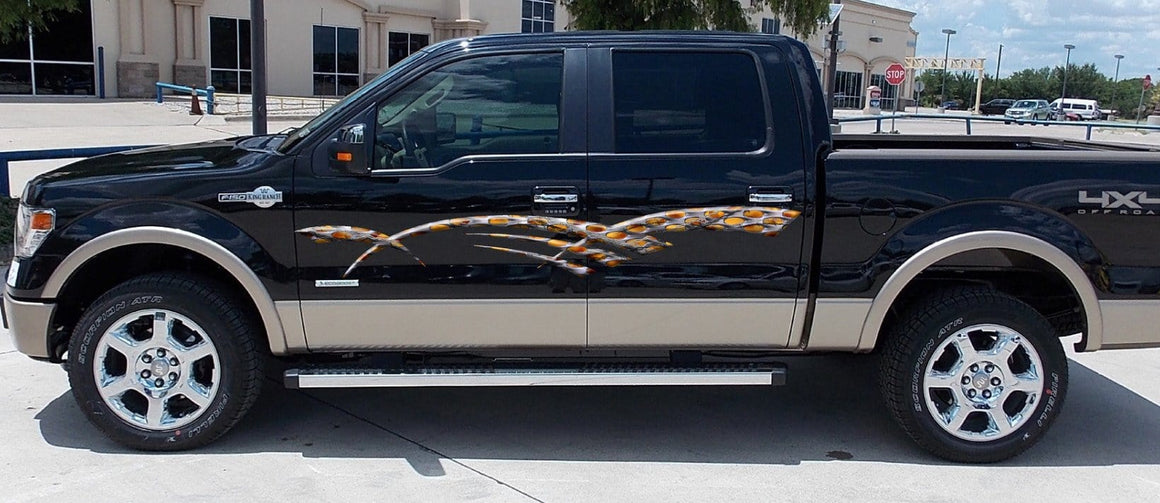 flaming barbwire stripe decals on truck