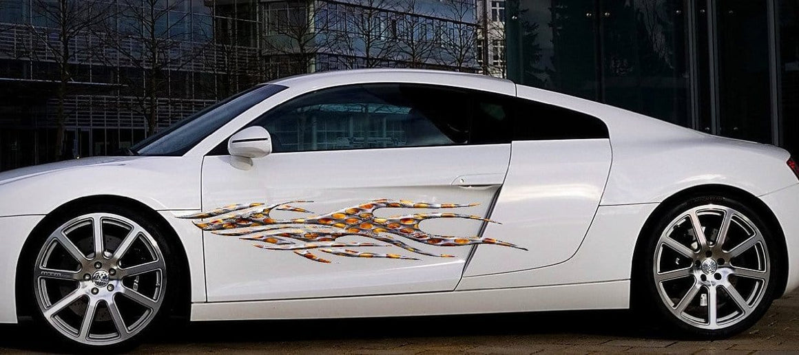 flaming metal decals on audi white car