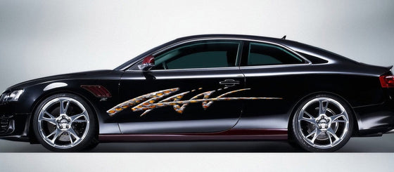 flaming metal car decals