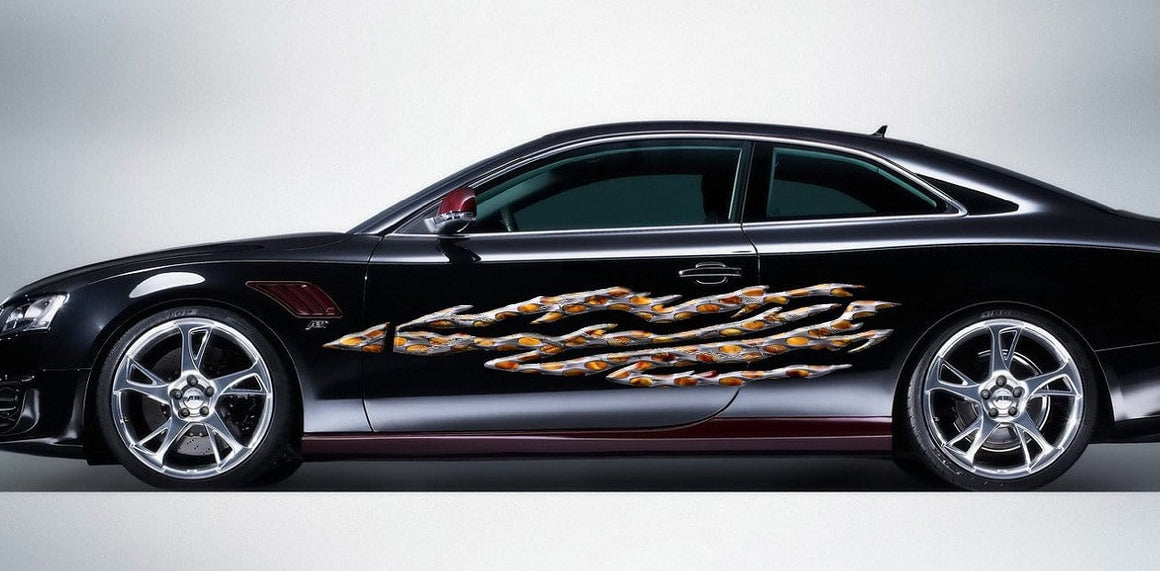 barbwire flame decal on black car