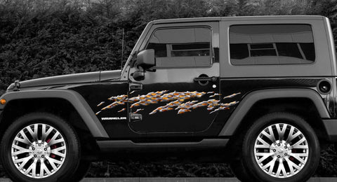 flaming metal jeep decals