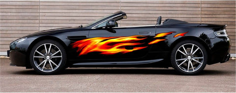 full color fire flame decal on black car