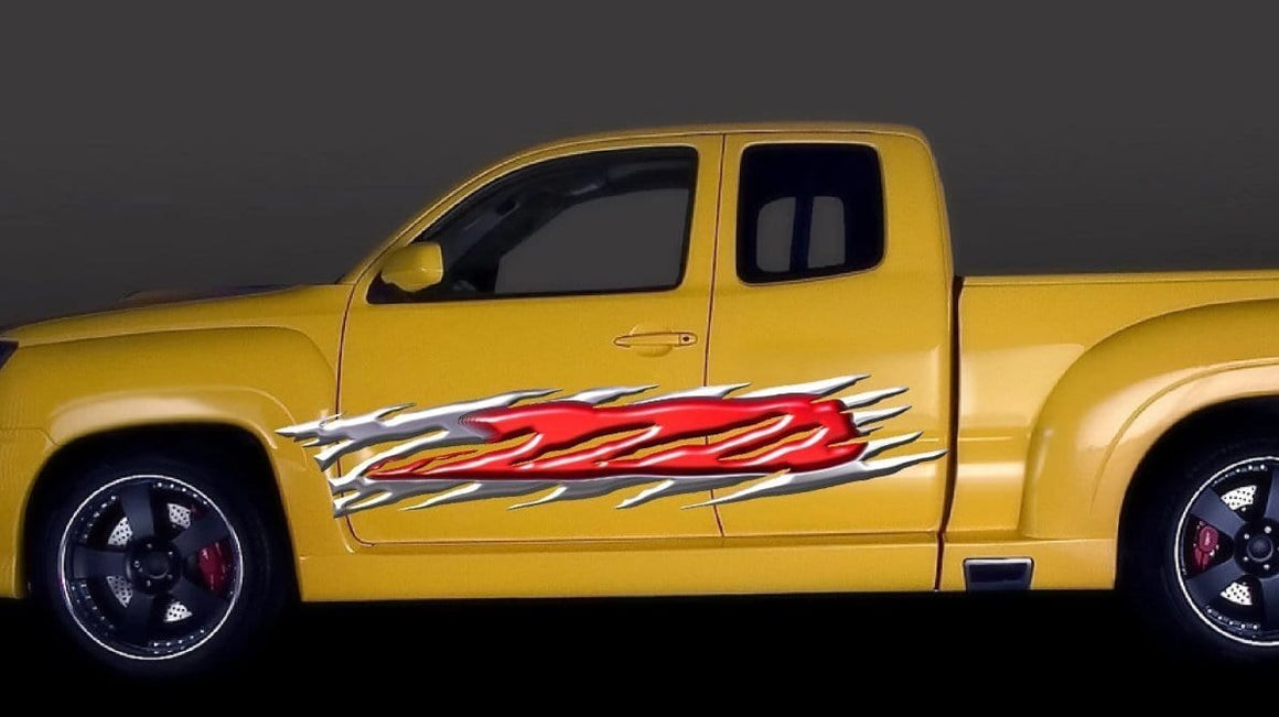 red 3d vinyl flames decal on yellow truck