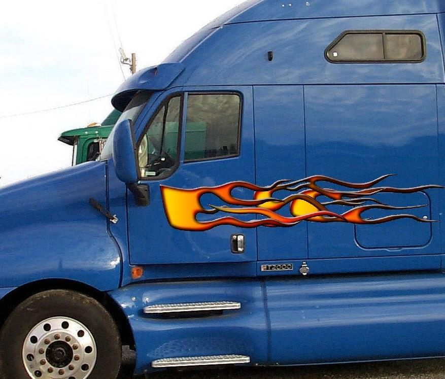Classic orange flames vinyl graphics on blue semi