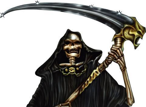 Grim reaper with scythe vinyl decals for truck tailgate