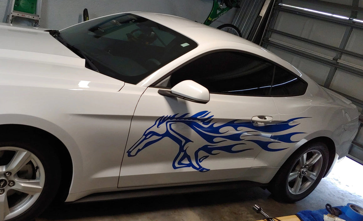 horse blue vinyl flames on white mustang car