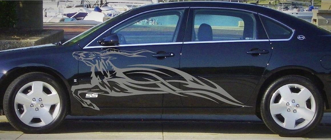 impala runing with flames vinyl decal on black chevy impala car