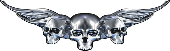 chrome winged skulls vinyl graphics on car hood