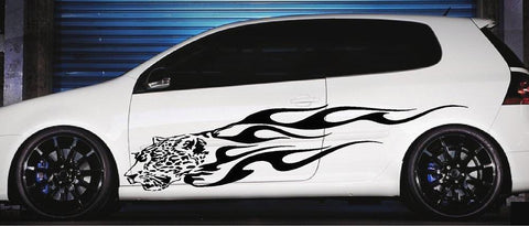 car side decals animal flames