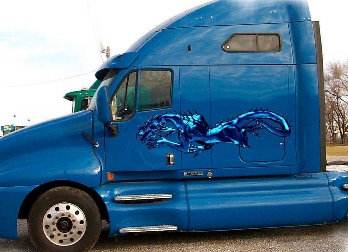 metal blue dragon vinyl graphics on blue semi truck