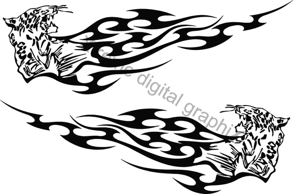 vehicle side decals animal flames