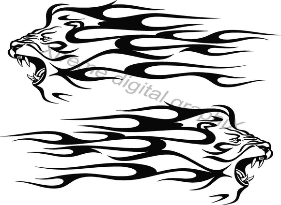 lion head flames vinyl decals on white car