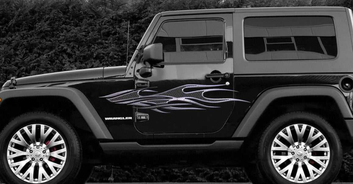 metal style flame on black jeep wrangler