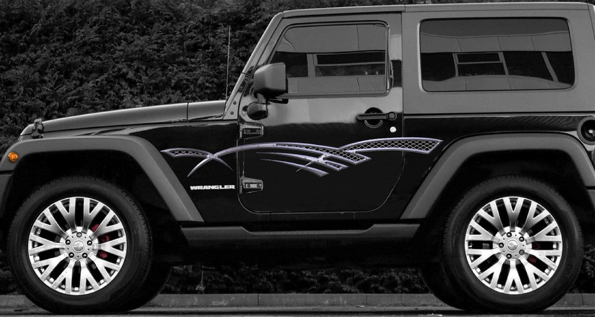 metal Grill vinyl decal stripes on jeep wrangler