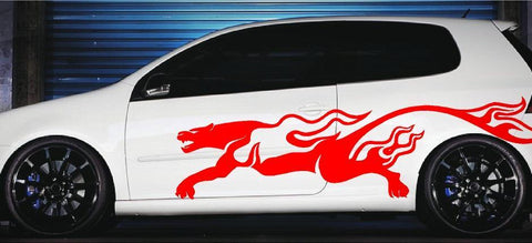 puma flames car decals