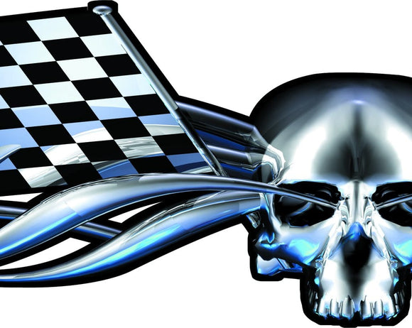 checkered flag chrome skull decal on truck tailgate