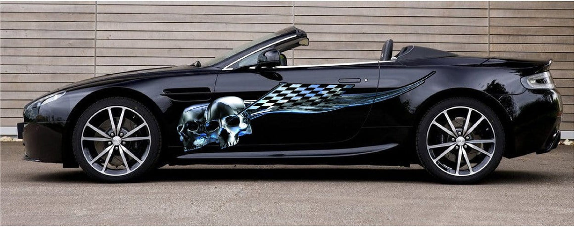 skulls race car graphics