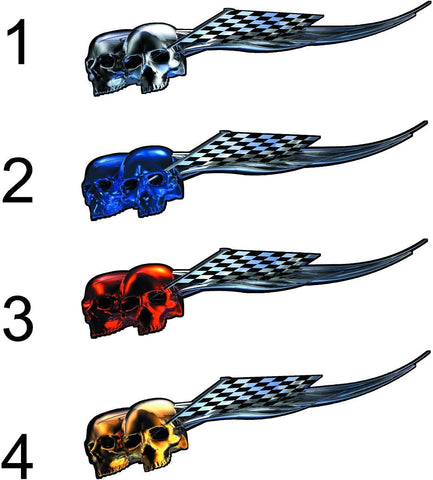 full color racing skulls decals