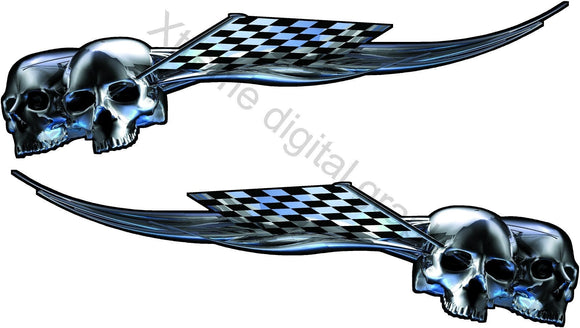 chrome skull checkers vinyl graphics on black corvette