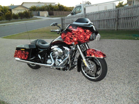 red skull wave wrap on harley bike