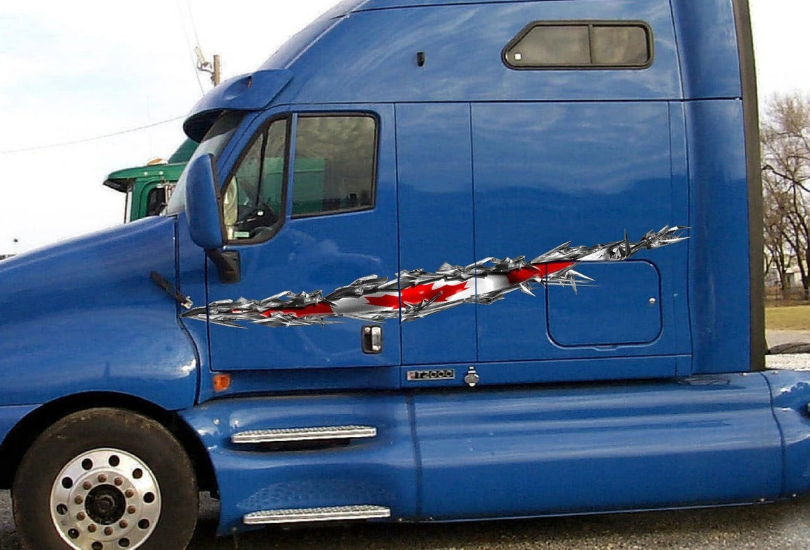 canadian flag tear vinyl graphics on semi truck