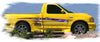 shark checkers vinyl decal on yellow truck