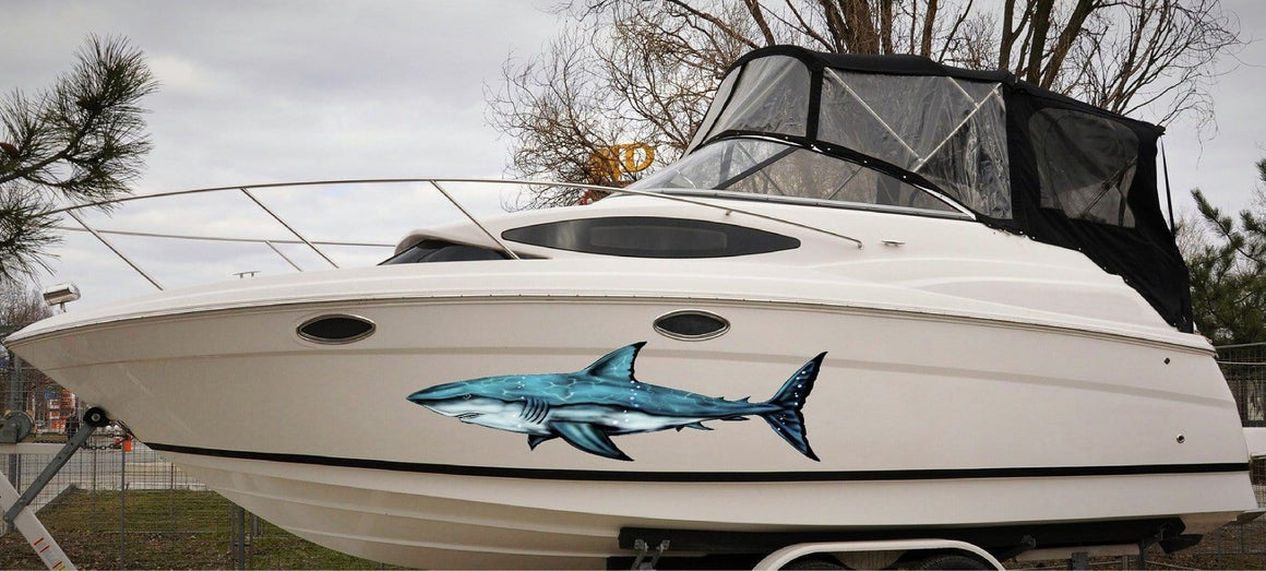 Great white shark vinyl decal on white boat