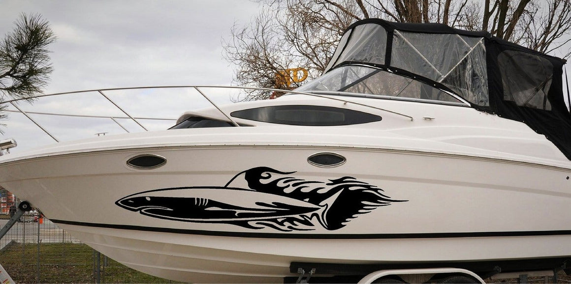 shark flames vinyl graphics on boat
