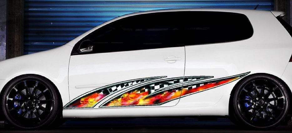 flaming skulls car decals