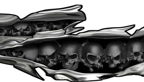 skulls chrome tears vinyl graphics on boat