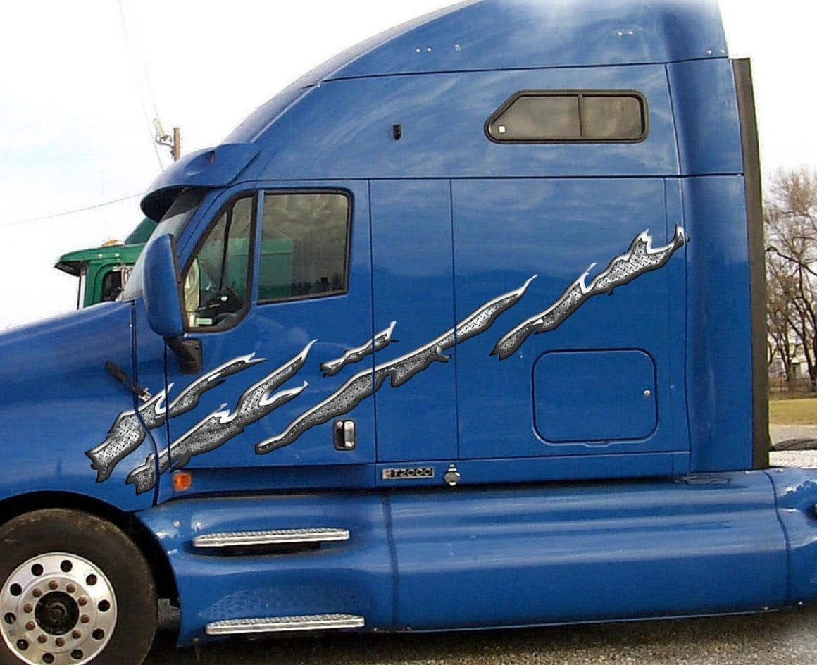 Diamond plate splatter decals on blue semi