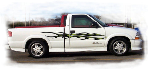 black decals on white truck