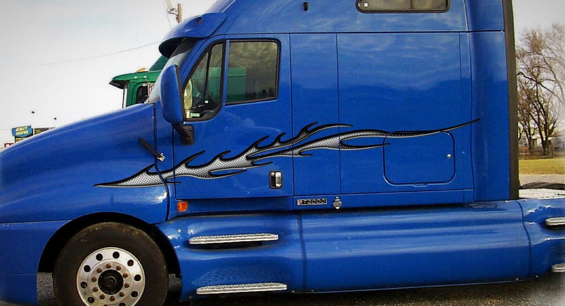 strike diamond plate flame vinyl graphics on blue semi trailer