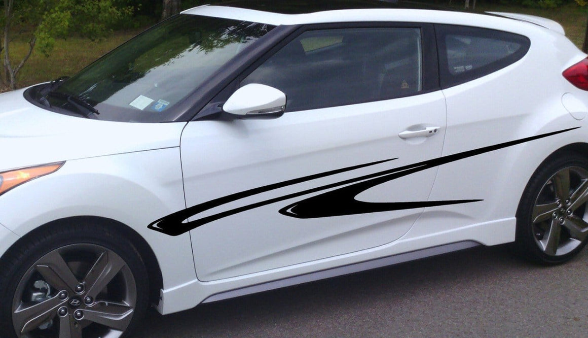 black vinyl stripes on car