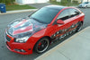tribal checkered flag wrap on red chevy car
