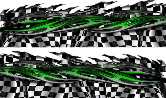 tribal checkered flag half wrap on sports car