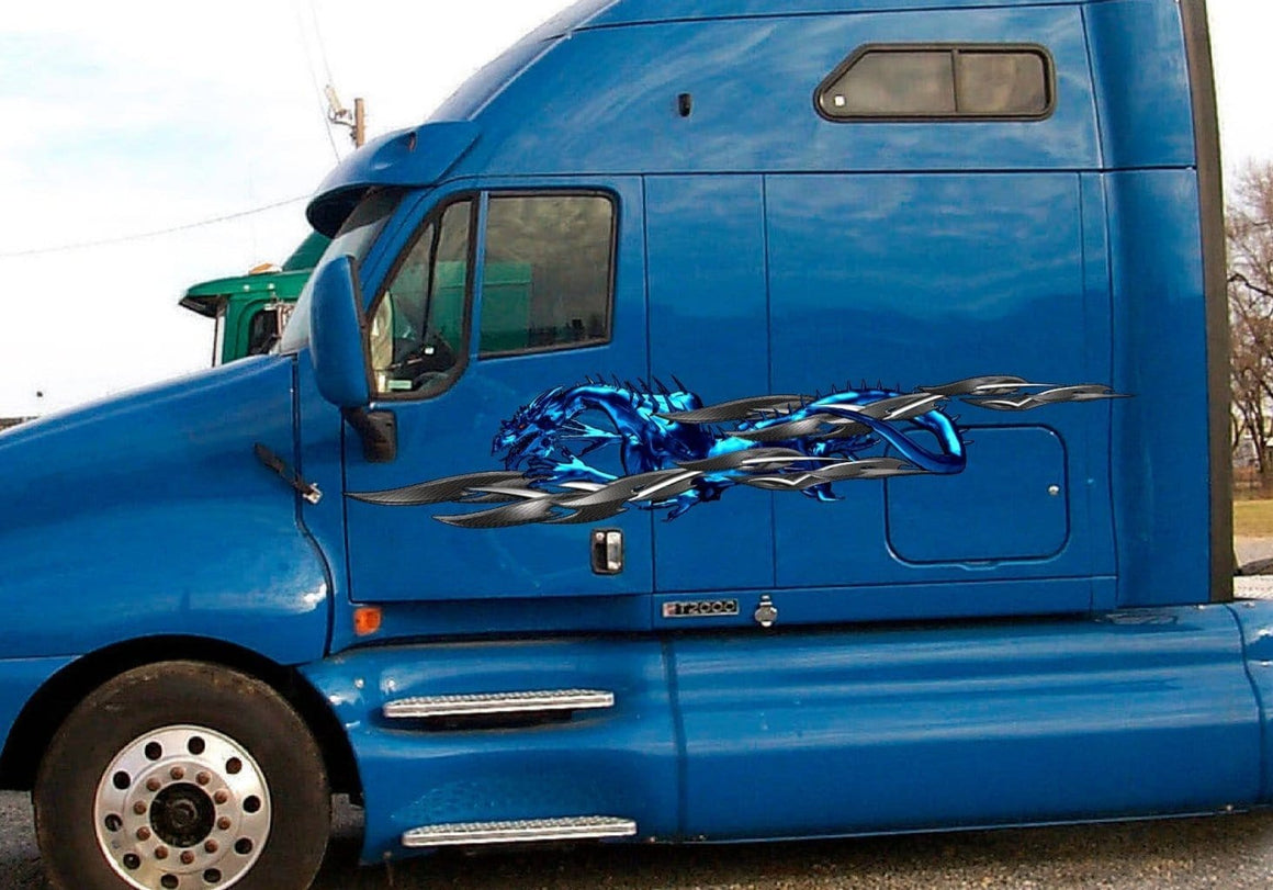 blue tribal dragon decals on blue semi