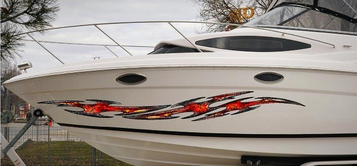 tribal flares vinyl graphics on boat