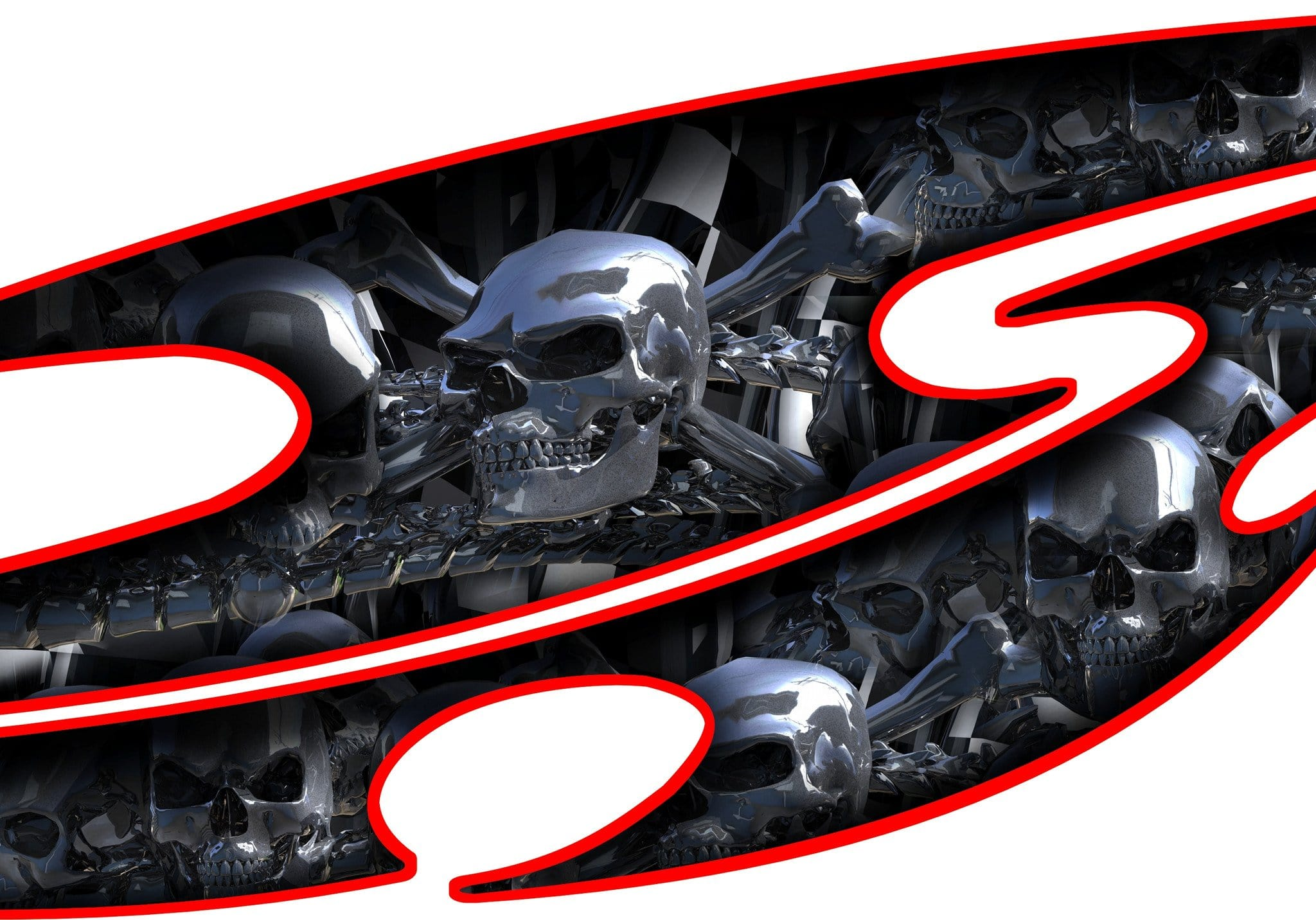 Chrome skull car decals · tribal skull auto decal