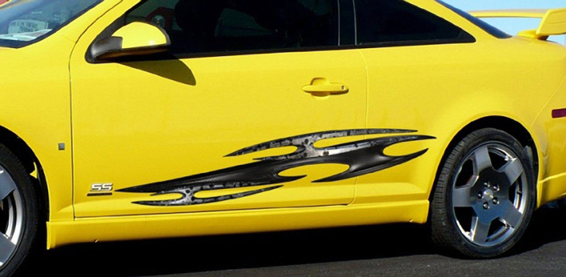 tribal vinyl graphics on the side of yellow sports car