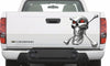 chrome skull and bones vinyl graphics on truck tailgate