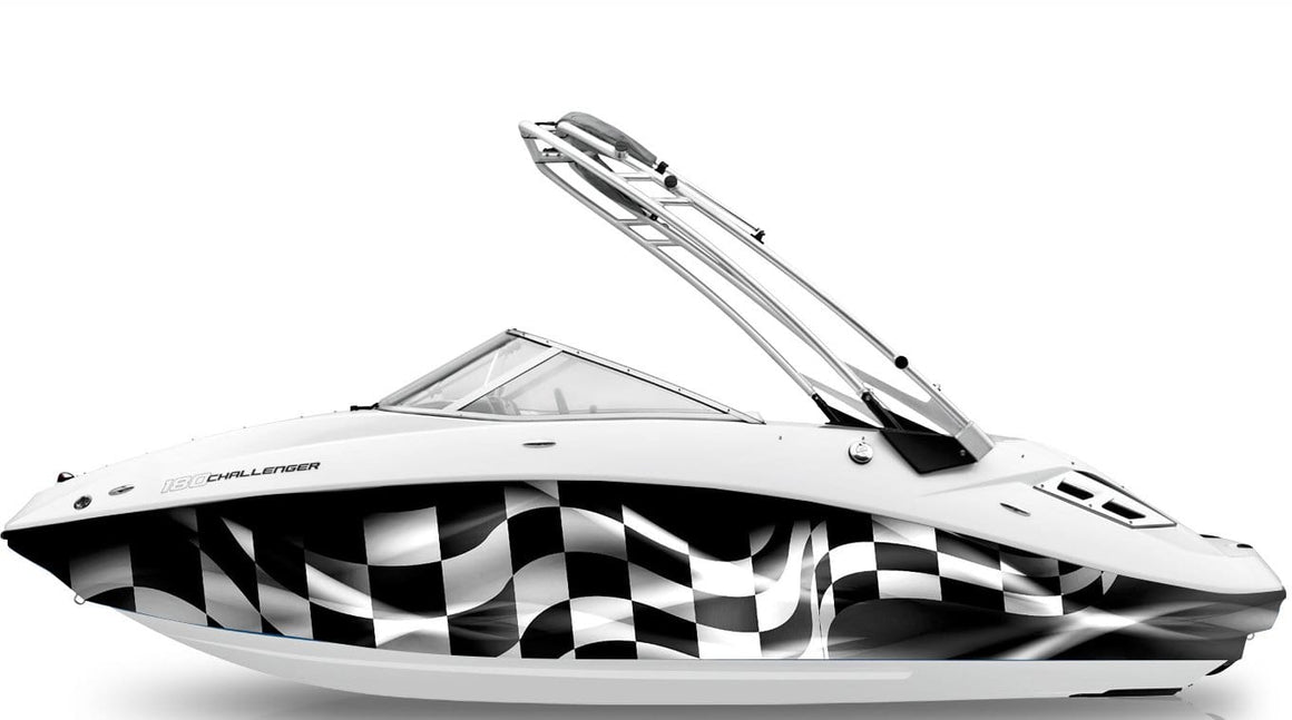 turbo racing checkered flag vinyl wrap on seadoo boat