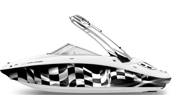 Checkered Flag Racing Boat Wrap Xtreme Digital Graphix