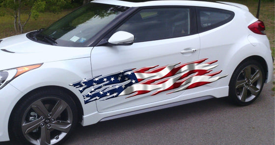 usa flag large sticker on white hatchback