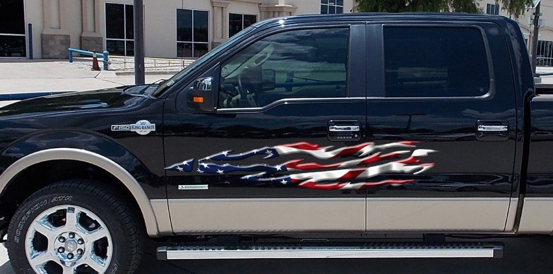 american flag flames decal on pickup
